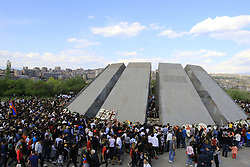 April 24, 2018  - Yerevan, Armenia - People attend a ceremony marking the 103rd anniversary of the Armenian Genocide. Armenia on Tuesday commemorated the 103rd anniversary of the genocide by the Ottoman Empire, during which about 1.5 million Armenians were killed. (Credit Image: © Gevorg Ghazaryan/Xinhua via ZUMA Wire)