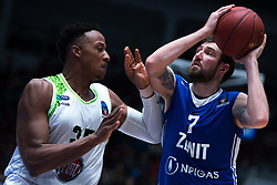 November 8, 2017 - Saint Petersburg, Russia - Kenny Kadji of Tofas Bursa (L) and Sergey Karasev of Zenit St. Petersburg vie for the ball during the EuroCup Round 5 regular season basketball match between Zenit St. Petersburg and Tofas Bursa at the Yubileyny Sports Palace in St. Petersburg, Russia, November 08, 2017. (Credit Image: © Igor Russak/NurPhoto via ZUMA Press)