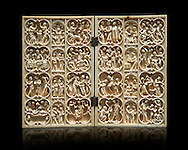 Medieval Gothic ivory diptych with scenes from the life of Christ and the Virgin made in Paris around 1370-1380.  inv 4089, The Louvre Museum, Paris. .<br /> <br /> If you prefer you can also buy from our ALAMY PHOTO LIBRARY  Collection visit : https://www.alamy.com/portfolio/paul-williams-funkystock/gothic-art-antiquities.html  Type -   louvre     - into the LOWER SEARCH WITHIN GALLERY box. Refine search by adding background colour, place, museum etc<br /> <br /> Visit our MEDIEVAL ART PHOTO COLLECTIONS for more   photos  to download or buy as prints https://funkystock.photoshelter.com/gallery-collection/Medieval-Gothic-Art-Antiquities-Historic-Sites-Pictures-Images-of/C0000gZ8POl_DCqE