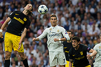 Filipe Luis of Atletico de Madrid battles for an aerial ball with Cristiano Ronaldo of Real Madrid  during the match of Champions League between Real Madrid and Atletico de Madrid at Santiago Bernabeu Stadium  in Madrid, Spain. May 02, 2017. (ALTERPHOTOS/Rodrigo Jimenez)