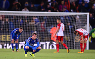 Christian Fuchs of Leicester city looks dejected after the match .Premier league match, Leicester City v West Bromwich Albion at the King Power Stadium in Leicester, Leicestershire on Monday 16th October 2017.<br /> pic by Bradley Collyer, Andrew Orchard sports photography.