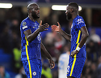 Football - 2021 / 2022 UEFA Champions League - Group H, Round One - Chelsea vs Zenit St Petersburgh - Stamford Bridge - Tuesday 14th September 2021<br /> <br /> Romelu Lulaku of Chelsea celebrates at the final whistle with Antonio Riudiger<br /> <br /> Credit : COLORSPORT/Andrew Cowie