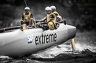 Image licensed to Lloyd Images<br /> The Extreme Sailing Series 2015. Act4 - Cardiff.UK<br /> SAP Extreme Sailing Team skippered by Jes Gram-Hansen and Rasmus Køstner <br /> Credit: Lloyd Images