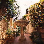 A birdbath is the centerpiece of an Italian garden
