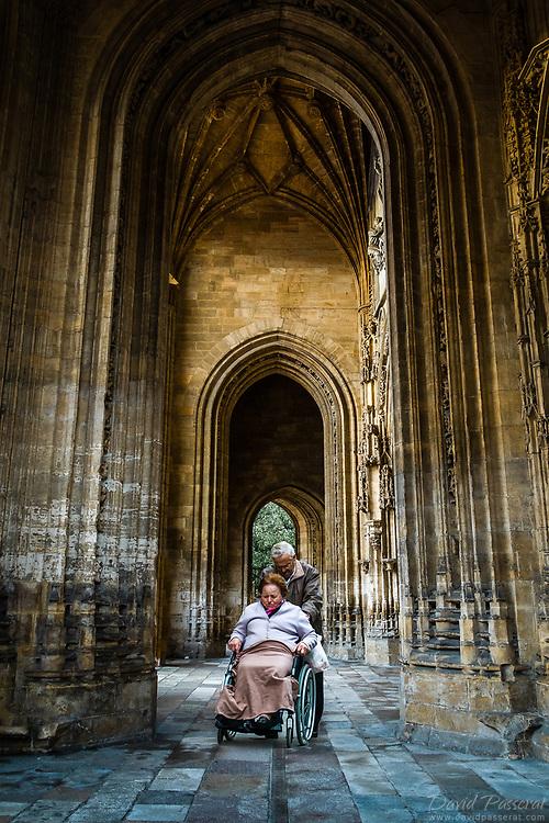 Church corridor wheelchair walk.