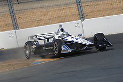 September 14, 2018 - Sonoma, CA, U.S. - SONOMA, CA - SEPTEMBER 14: Simon Pagenaud hits the rumble strips hard during the Verizon IndyCar Series practice for the Grand Prix of Sonoma on September 14, 2018, at Sonoma Raceway in Sonoma, CA. (Photo by Larry Placido/Icon Sportswire) (Credit Image: © Larry Placido/Icon SMI via ZUMA Press)