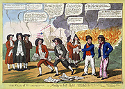 The fall of Washington--or Maddy in full flight. Cartoon showing President James Madison and probably John Armstrong, his secretary of war, both with bundles of papers, fleeing from Washington, with burning buildings behind them.  print : engraving, color. 1814.
