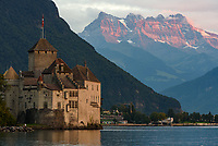 The Chillon Castle was built on the edge of Lake Geneva in the 11th century. I was beginning to doubt the sun would break through this evening. But it did at the last minute and lit up the Chablais Massif in the background.