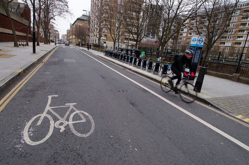 Bike lanes in and around the City of London