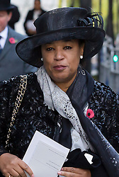 © Licensed to London News Pictures. 15/11/2016. LONDON, UK.  Baronness Scotland arrives in Downing Street ahead of the annual Remembrance Sunday service at the Cenotaph on 13th November 2016. The taxpayer-funded makeover of Baroness Scotlandís Mayfair mansion has reportedly included £24,000 for a bathroom, £8,000 to repair curtains and £307 for a lavatory seat according to an official letter. Baroness Scotland claims the refurbishment of the mansion was not a misuse of public money. Photo credit: Vickie Flores/LNP