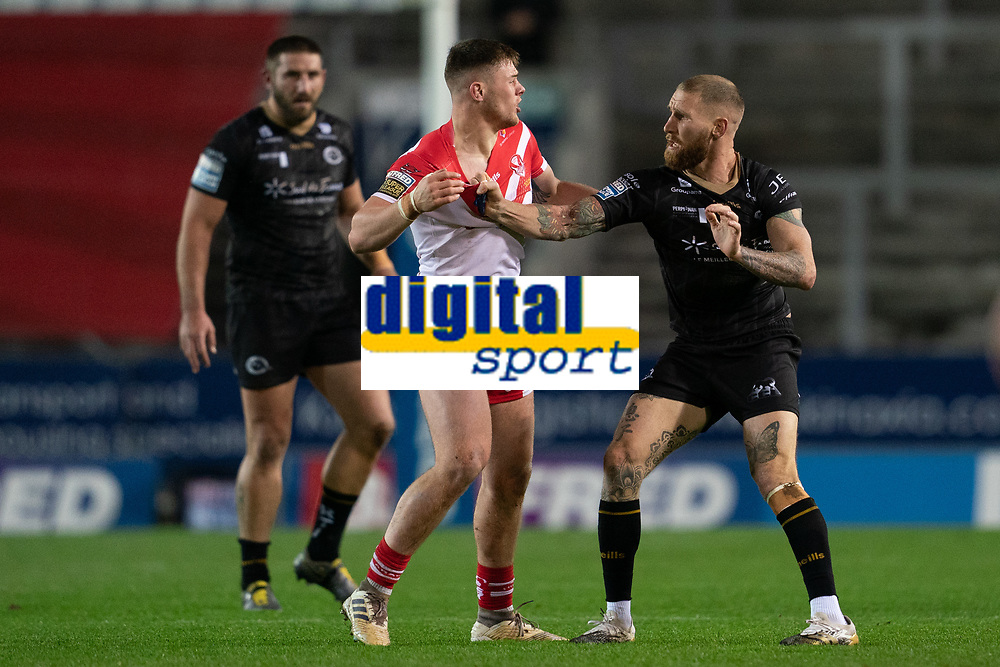 Rugby League - 2020 Betfair Super League - Semi-final - St Helens vs Catalan Dragons - TW Stadium<br /> <br /> St. Helens's Morgan Knowles and Catalans Dragons's Sam Tomkins have a disagreement<br /> <br /> COLORSPORT/TERRY DONNELLY