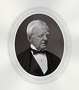 Robert Lowe, lst Viscount Sherbrooke (1811-1892) British statesman. In 1868 appointed Chancellor of the Exchequer by Gladstone. Raised to peerage as Viscount Sherbrooke in 1880. An albino, his eyesight was always weak.  From 'Men of Mark' by Thompson Cooper, London, 1878. Woodburytype.