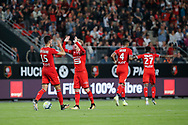 Benjamin BOURIGEAUD (STADE RENNAIS FOOTBALL CLUB) scored a goal and celebrated it with Ramy BENSEBAINI (STADE RENNAIS FOOTBALL CLUB), Edson MEXER (STADE RENNAIS FOOTBALL CLUB), Hamari TRAORE (STADE RENNAIS FOOTBALL CLUB) during the French championship L1 football match between Rennes v Lyon, on August 11, 2017 at Roazhon Park stadium in Rennes, France - Photo Stephane Allaman / ProSportsImages / DPPI