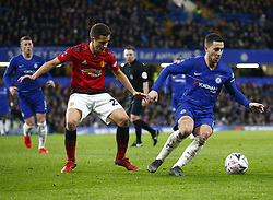 February 18, 2019 - London, United Kingdom - L-R Manchester United's Ander Herrera and Chelsea's Eden Hazard.during FA Cup Fifth Round between Chelsea and Manchester United at Stanford Bridge stadium , London, England on 18 Feb 2019. (Credit Image: © Action Foto Sport/NurPhoto via ZUMA Press)
