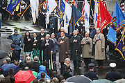 April 14, 2014 - Boston, Massachusetts, USA - <br /> <br /> Boston Marathon Bombing Anniversary<br /> <br /> Hundreds gather at the Boston Marathon finish line in Boston, Massachusetts to mark the one year anniversary of the Boston Marathon Bombing. United States Vice President Joe Biden, center right, stands between Boston Mayor Marty Walsh, left, and Massachusetts Governor Deval Patrick, right, during a flag raising ceremony and moment of silence.<br /> ©Exclusivepix