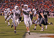 Duke guard Charlie Hatcher (93) recovers a fumble for a 7 yard touchdown against Virginia during an ACC football game Saturday in Charlottesville, VA. Duke won 28-17. Photo/Andrew Shurtleff