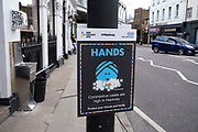 As London awaits the second coronavirus national lockdown, advice boards in Hackney before a month-long total lockdown in the UK on 2nd November 2020 in London, United Kingdom. The three tier system in the UK has not worked sufficiently, to suppress the virus, and there have have been calls by politicians for a 'circuit breaker' complete lockdown to be announced to help the growing spread of the Covid-19.