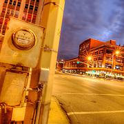 Utility pole on northeast corner of 20th Street and Grand Avenue, Kansas City, Missouri.