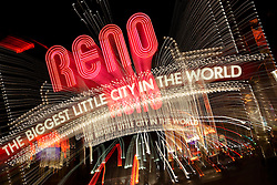 """""""Downtown Reno 3""""  This Reno The Biggest Little City in the World sign, also know as the Reno Arch, was photographed in Reno, Nevada. The effect was obtained in camera by long exposure mixed with intentional camera movement."""