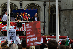 Parliament Square, Westminster, London, June 27th 2016. Thousands of Labour's Momentum members and their supporters gather in Parliament Square in a display of support for embattled Labour Leader Jeremy Corbyn as he suffers numerous calls for his resignation by party members, saying he has does not have the authority to lead the divided party, following his less than emphatic support for Remain in the EU referendum. PICTURED: Jeremy Corbyn addresses the crowd of supporters.
