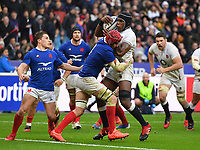 Rugby Union - 2020 Guinness Six Nations Championship - France vs. England<br /> <br /> England's Maro Itoje is tackled by Frances's Bernard Le Roux, at The Stade de France, Paris.<br /> <br /> COLORSPORT/ASHLEY WESTERN