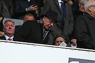 Manchester United legend Bobby Charlton about to take his seat in the stand before k/o. Barclays Premier league match, Tottenham Hotspur v Manchester Utd at White Hart Lane in London on Sunday 10th April 2016.<br /> pic by John Patrick Fletcher, Andrew Orchard sports photography.