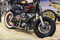 A custom Harley-Davidson Shovelhead Custom and Tuning Show in Moscow, Russia. Friday April 21, 2017. Photography ©2017 Michael Lichter.