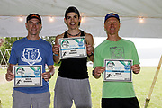 Overall male winners 1st  Chris Hague , 2nd, Kevin Long and 3rd Robert Scheungrab in the 2018 Hague Endurance Festival Olympic Triathlon