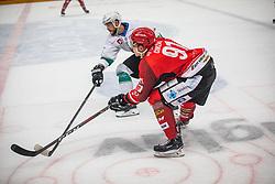 91# Tadej Cimzar of HK SIJ Acroni Jesenice during ice hockey match between HK SIJ Acroni Jesenice and HK SZ Olimpija in Round #12 of Alps Hockey League 2018/19 , on October 27, 2018 in Podmezakla hall , Jesenice, Slovenia. Photo by Urban Meglic / Sportida