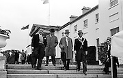 27/06/1963 - John F. Kennedy attends a garden party at Áras an Uachtaráin. at the party were (l-r): James Gallagher T.D., Sligo; Cahir Healy M.P.; Joseph Stewart, leader of Nationalist opposition at Stormont and Alderman James Gannon, Mayor of Sligo.