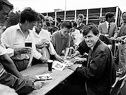 Packie Bonner signing autographs for fans at the Guinness Family Fun Day, an event for Guinness employees and their families at the Iveagh Gardens in Dublin.<br /> 2 July 1988