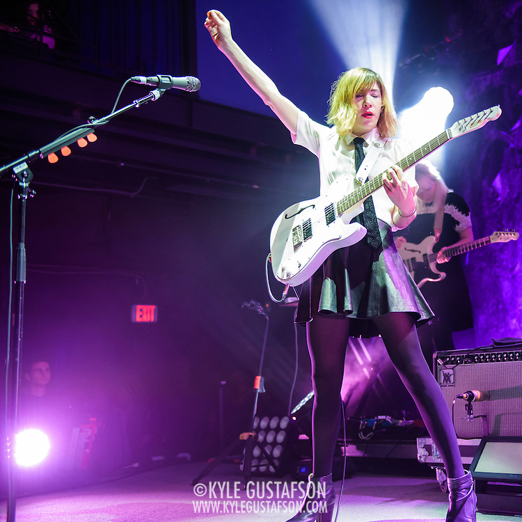 WASHINGTON, DC - February 24, 2015 - Carrie Brownstein of Sleater-Kinney performs during the first of two sold-out shows at the 9:30 Club in Washington, D.C. The band, on hiatus since 2006, reunited late in 2014 and recently released No Cities to Love, their first album in almost 10 years. (Photo by Kyle Gustafson / For The Washington Post)