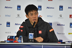 November 15, 2018 - London, England, United Kingdom - Kei Nishikori of Japan is pictured during a press conference on Day Five of the Nitto ATP Finals at The O2 Arena on November 15, 2018 in London, England. (Credit Image: © Alberto Pezzali/NurPhoto via ZUMA Press)