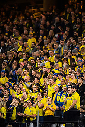 March 23, 2019 - Stockholm, SWEDEN - 190323 Fans of Sweden during the UEFA Euro Qualifier football match between Sweden and Romania on March 23, 2019 in Stockholm..Photo: Joel Marklund / BILDBYRÃ…N / kod JM / 87914 (Credit Image: © Joel Marklund/Bildbyran via ZUMA Press)