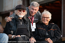 AFT flattrack official Chris Putman with Nancy and Willie G Davidson at the AMA Flat track race at the Buffalo Chip during the Sturgis Black Hills Motorcycle Rally. Sturgis, SD, USA. Sunday, August 4, 2019. Photography ©2019 Michael Lichter.