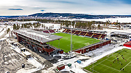 JÄMTKRAFT ARENA 2020-04-05<br /> Bilder på Jämtkraft Arena dagen för den planerade premiären i Allsvenskan. Tomt på Jämtkraft arena medan nåra ungdomar tränar på B-planen. Frösön och Storsjön i bakgrunden.<br /> <br /> Foto: Per Danielsson/Projekt.P<br /> Spridningstillstånd: LM2020/007425