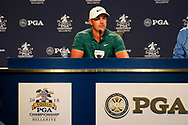 Brooks Koepka (USA) speaks to the media after winning the 100th PGA Championship at Bellerive Country Club, St. Louis, Missouri, USA. 8/12/2018.<br /> Picture: Golffile.ie | Brian Spurlock<br /> <br /> All photo usage must carry mandatory copyright credit (© Golffile | Brian Spurlock)