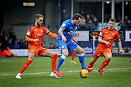 Peterborough Utd's Lee Tomlin (29) trying to turn his man on the edge of the box  during the EFL Sky Bet League 1 match between Luton Town and Peterborough United at Kenilworth Road, Luton, England on 19 January 2019.