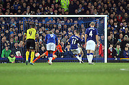 Kevin Mirallas of Everton scores his teams 2nd goal from the penalty spot. The Emirates FA cup, 3rd round match, Everton v Dagenham & Redbridge at Goodison Park in Liverpool on Saturday 9th January 2016.<br /> pic by Chris Stading, Andrew Orchard sports photography.