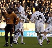 Picture: Henry Browne.<br /> Date: 20/12/2003.<br /> Wolverhampton Wanderers v Leeds United FA Barclaycard Premiership.<br /> Michael Duberry is congratulated by Stephen McPhail on his goal for Leeds.