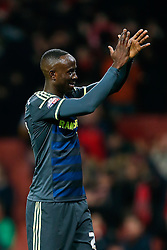 Albert Adomah of Middlesbrough applauds the away supporters after Arsenal win 2-0 - Photo mandatory by-line: Rogan Thomson/JMP - 07966 386802 - 15/02/2015 - SPORT - FOOTBALL - London, England - Emirates Stadium - Arsenal v Middlesbrough - FA Cup Fifth Round Proper.