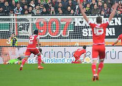 31.10.2015, WWK Arena, Augsburg, GER, 1. FBL, FC Augsburg vs 1. FSV Mainz 05, 11. Runde, im Bild Jubel beim FSV Mainz 05. Das Tor zum 1:0 mit v.l. Marwin Hitz #35 (FC Augsburg), Gonzalo Jara #2 (FSV Mainz 05), Markus Feulner #8 (FC Augsburg), Torschuetze Yoshinori Muto #9 (FSV Mainz 05) und Stefan Bell #16 (FSV Mainz 05) // during the German Bundesliga 11th round match between FC Augsburg and 1. FSV Mainz 05 at the WWK Arena in Augsburg, Germany on 2015/10/31. EXPA Pictures © 2015, PhotoCredit: EXPA/ Eibner-Pressefoto/ Hiermayer<br /> <br /> *****ATTENTION - OUT of GER*****