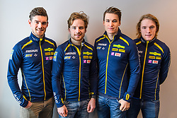 March 15, 2019 - –Stersund, Sweden - 190315 Fredrik Lindström, Jesper Nedin, Martin Ponsiluoma and Sebastian Samuelsson of Sweden that will compete at the Men's 4x7.5 km Relay Competition pose for a picture at a press conference with the Swedish Biathlon team during the IBU World Championships Biathlon on March 15, 2019 in Östersund..Photo: Petter Arvidson / BILDBYRÃ…N / kod PA / 92267 (Credit Image: © Petter Arvidson/Bildbyran via ZUMA Press)