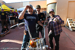 Custom bike builder and event organizer JP Rodman and Slinging Ink tattoo artist Oliver Peck with the bike barrel winner at the Run to Raton. Raton, NM. USA. Saturday July 21, 2018. Photography ©2018 Michael Lichter.