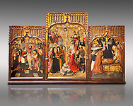 Gothic Catalan altarpiece of, left to right, the martydom of St Bartholomew, Calvaty and the deat of St Mary Magdelene, by Jaume Huguet, Barcelona circa 11465-1480, tempera and gold leaf on for wood, from the church of San Marti de Petegas de san Seloni, Valle Oriental, Spain.  National Museum of Catalan Art, Barcelona, Spain, inv no: MNAC   24365. Against a light grey background. .<br /> <br /> If you prefer you can also buy from our ALAMY PHOTO LIBRARY  Collection visit : https://www.alamy.com/portfolio/paul-williams-funkystock/gothic-art-antiquities.html  Type -     MANAC    - into the LOWER SEARCH WITHIN GALLERY box. Refine search by adding background colour, place, museum etc<br /> <br /> Visit our MEDIEVAL GOTHIC ART PHOTO COLLECTIONS for more   photos  to download or buy as prints https://funkystock.photoshelter.com/gallery-collection/Medieval-Gothic-Art-Antiquities-Historic-Sites-Pictures-Images-of/C0000gZ8POl_DCqE