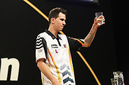 Michael Unterbuchner wins against James Wade to reach the quarter final  during the Grand Slam of Darts 2018 at Aldersley Leisure Village, Wolverhampton, United Kingdom on 15 November 2018.