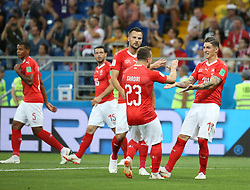 ROSTOV-ON-DON, June 17, 2018  Steven Zuber (1st R) of Switzerland celebrates his scoring with teammates during a group E match between Brazil and Switzerland at the 2018 FIFA World Cup in Rostov-on-Don, Russia, June 17, 2018. (Credit Image: © Li Ga/Xinhua via ZUMA Wire)