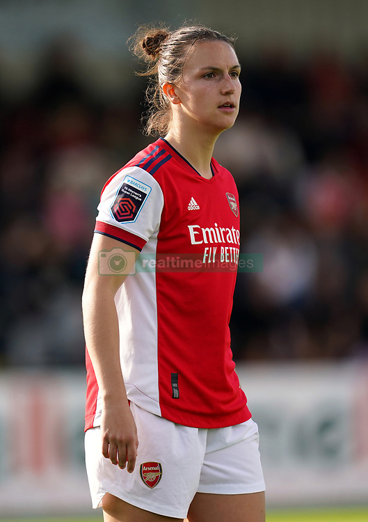 Arsenal Women's Lotte Wubben-Moy in action during the FA Women's Super League match at Meadow Park, Borehamwood. Picture date: Sunday October 10, 2021.