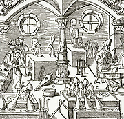 'Assay laboratory: in this picture gold and silver are being assayed. Woodcut from ''De re metallica'', Basle, 1556, by Agricola (Georg Bauer).'