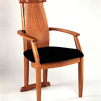 Dining arm chair<br /> Anigre veneers and cherry<br /> part of a set for a couple in Palo Alto, Ca. handmade furniture/chairs